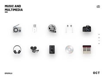 Music and Multimedia Realistic Icons preview picture