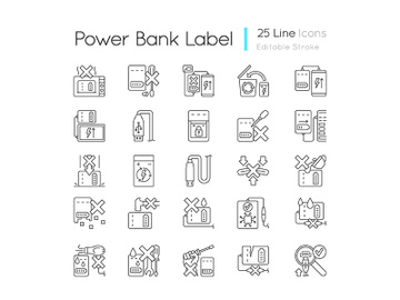 Power bank usage linear manual label icons set preview picture