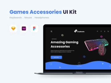 PC Games Accessories Landing Page UI Kit preview picture