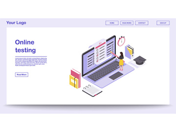Online testing webpage vector template with isometric illustration preview picture
