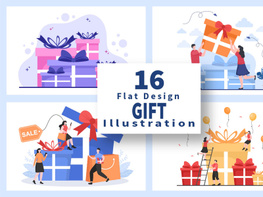 16 Colorful Wrapped Gift Box Online Delivery Illustration preview picture