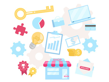 Business model flat vector illustration preview picture