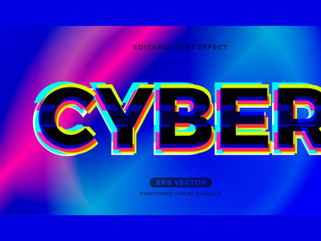 Cyber editable text effect vector template preview picture