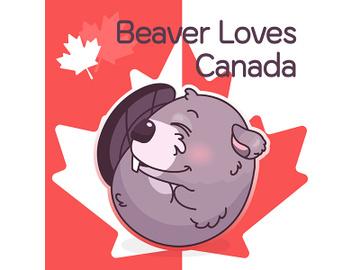 Cute beaver canadian symbol kawaii character social media post mockup preview picture