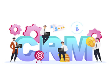 CRM word concepts flat color vector banner preview picture