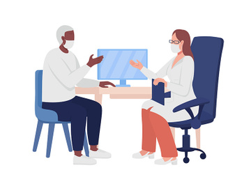 Patient consulting with doctor semi flat color vector characters preview picture