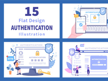 15 Authentication Security Flat Illustration preview picture