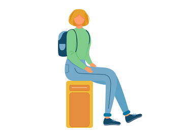 Girl sitting on suitcase flat vector illustration preview picture