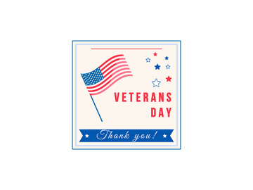 Veterans Day celebration flat color vector badge preview picture