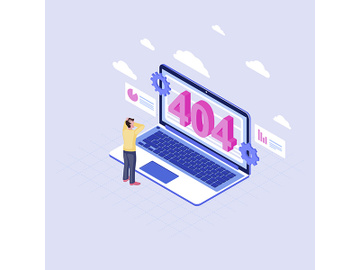 User shocked at 404 problem isometric illustration preview picture