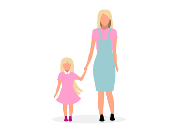 Blonde mother with cute daughter flat vector illustration preview picture