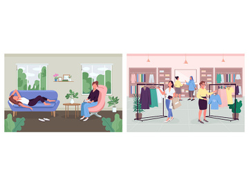 Women rest and recovery methods flat color vector illustration set preview picture