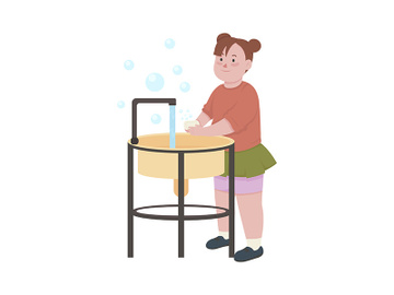 Girl rubbing soap with hands semi flat color vector character preview picture