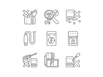 Portable charger care linear manual label icons set preview picture