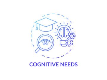 Cognitive needs blue gradient concept icon preview picture
