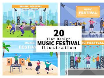 20 Music Festival Live Singing Performance Vector Illustration preview picture