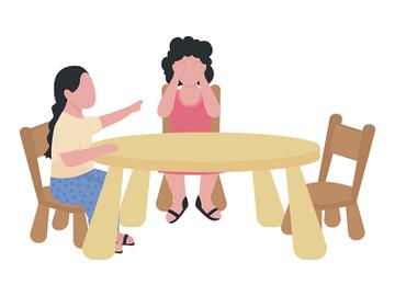 Preschoolers quarrelling semi flat color vector characters preview picture