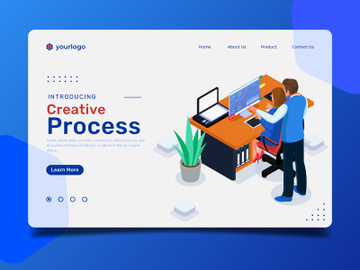 Creative process landing page illustration template preview picture