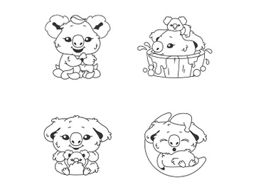 Cute koala kawaii linear characters pack preview picture