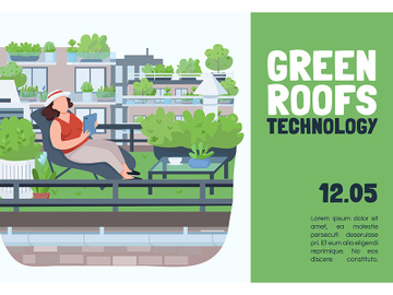 Green roofs technology banner flat vector template preview picture