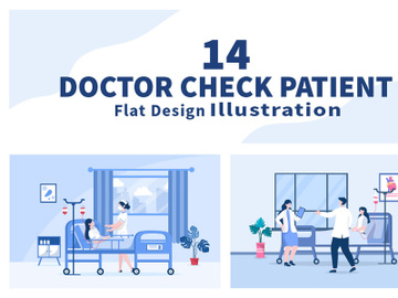 14 Doctor Checking a Patient Medical Treatment Vector Illustration preview picture