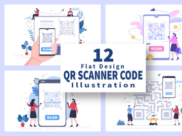12 QR Code Scanner for Online Payment Illustration preview picture