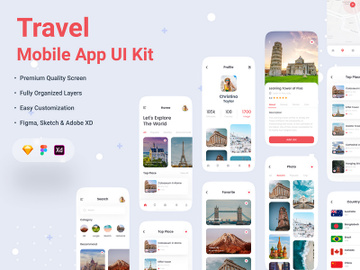 Travel Mobile App UI kit preview picture