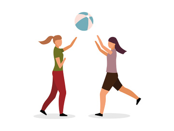 Girls playing volleyball semi flat color vector characters preview picture