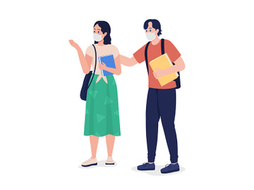 Pair of students in masks semi flat color vector character preview picture