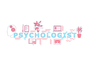 Psychologist word concepts word concepts thin line vector banner preview picture