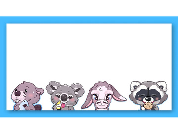 Cute animals kawaii characters vector frame preview picture