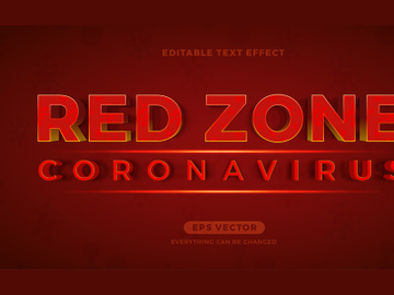Red Zone Coronavirus editable text effect vector template preview picture