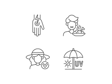 Sunstroke and sunburn linear icons set preview picture