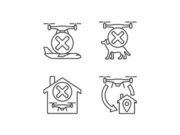 Drone instruction linear manual label icons set preview picture