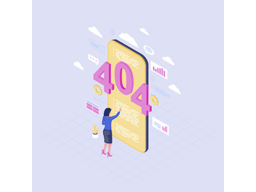 Smartphone browsing problem isometric illustration preview picture