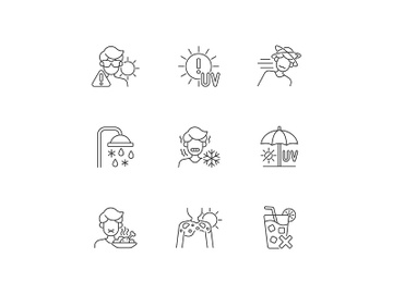 Heatstroke risk during summer linear icons set preview picture