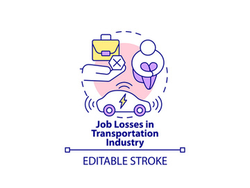 Transportation industry job losses concept icon. preview picture
