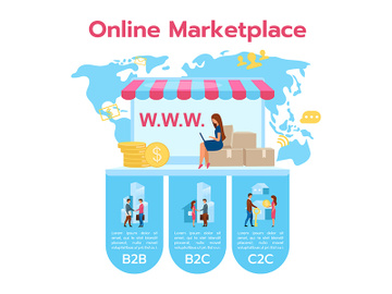 Online marketplace flat infographic vector template preview picture