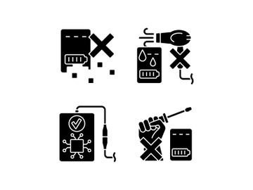 Extending power bank life black glyph manual label icons set on white space preview picture