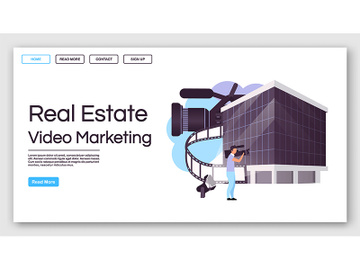 Real estate video marketing landing page vector template preview picture
