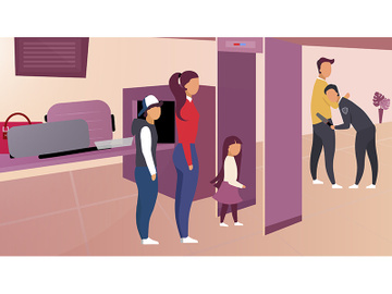 Security control in airport vector illustration preview picture