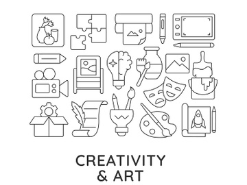 Creativity and art abstract linear concept layout with headline preview picture