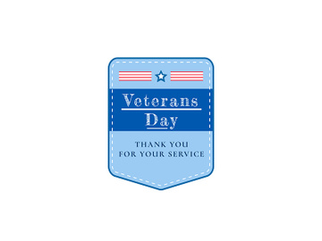 Veterans Day holiday flat color vector badge preview picture