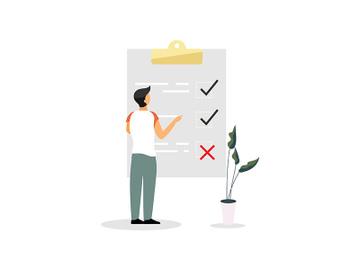 Man, entrepreneur at checklist flat vector illustration preview picture