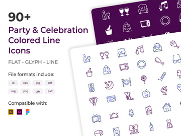 90+ Party and Celebration Colored Line Icons preview picture