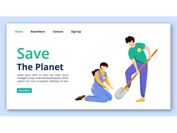 Save planet landing page vector template preview picture