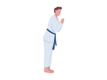 Man practicing judo in dojo semi flat color vector character preview picture