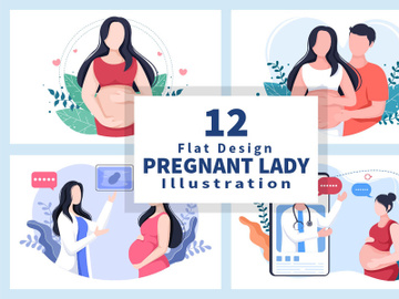12 Pregnant Lady Background Vector Illustration preview picture