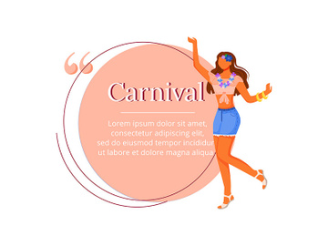 Carnival flat color vector character quote preview picture