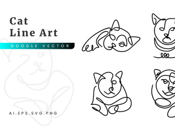Cat Line Art flat illustration outline handwriting preview picture